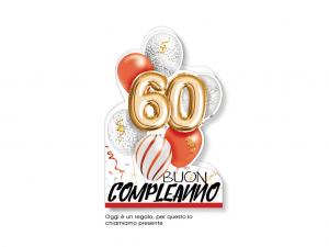 BIGLIETTO COMPLEANNO 60 ANNI PALLONCINI